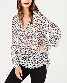 Rachel Zoe Ruffle-Neck Semi-Sheer Silk Top