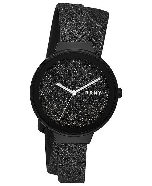 b2a91ff022 ... DKNY Women's Astoria Black Glitter Leather Wrap Strap Watch 38mm,  Created for Macy's ...