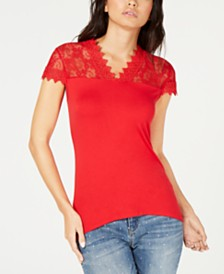 I.N.C. Lace-Trim T-Shirt, Created for Macy's