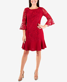 NY Collection Lace Flounce-Hem Shift Dress