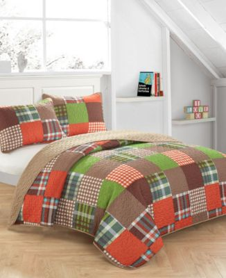 Plaid Patchwork Quilt Set - Full