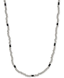 "Men's 24"" Beaded Necklace in Sterling Silver & Black Rhodium-Plate"