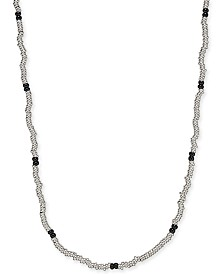"DEGS & SAL Men's 24"" Beaded Necklace in Sterling Silver & Black Rhodium-Plate"