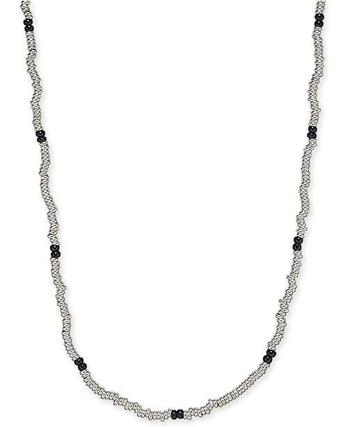 "DEGS & SAL Men's 24"" Beaded Necklace in Sterling Silver & Black Rhodium-Plate"