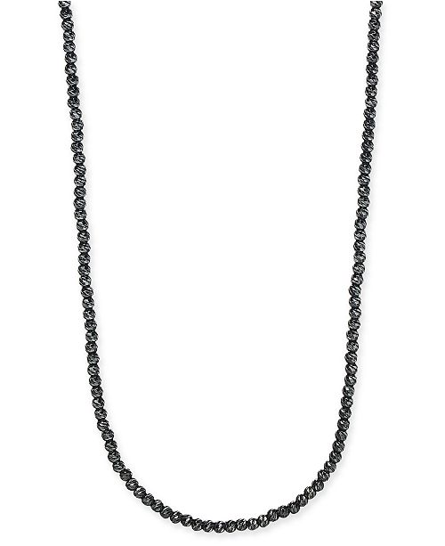 """DEGS & SAL Men's 24"""" Beaded Necklace in Black Rhodium-Plated Sterling Silver"""