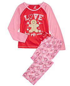 Max & Olivia Big Girls 2-Pc. Love Pajamas Set, Created for Macy's