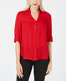 BCX Juniors' Roll-Tab-Sleeve Pocket Shirt