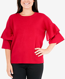 NY Collection Double-Ruffled Sleeve Sweater