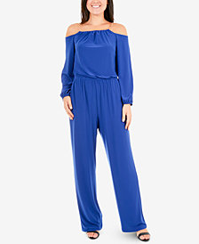 NY Collection Cold-Shoulder Chain Jumpsuit