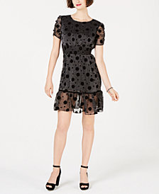 Betsey Johnson Polka-Dot Metallic Fit & Flare Dress