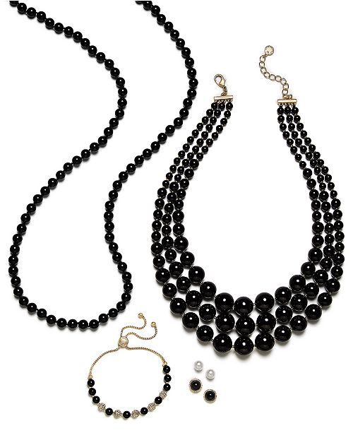 Charter Club Gold-Tone Pavé Bead & Imitation Pearl Jewelry Separates, Created for Macy's