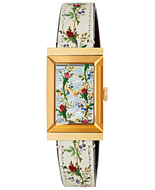 Gucci Women's Swiss G-Frame White Flower Print Leather Strap Watch 21x34mm