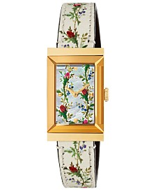 Gucci Women's Swiss G-Frame White Flower Print Leather Strap Watch 21x34mm