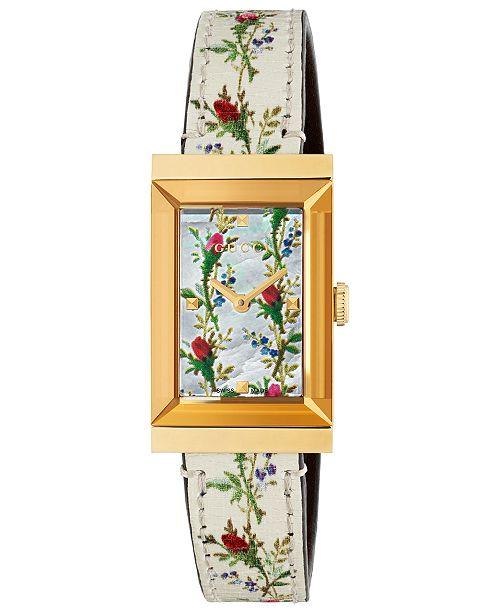 e8d77abb60c447 ... Gucci Women s Swiss G-Frame White Flower Print Leather Strap Watch  21x34mm ...