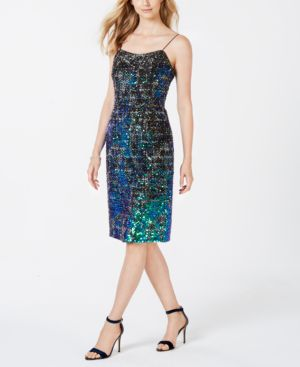 ADRIANNA PAPELL Sequined Sheath Dress in Emerald Multi