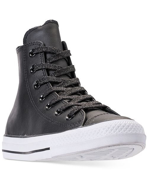 43faf28b48510 ... Converse Women s Chuck Taylor All Star Leather High Top Casual Sneakers  from Finish ...