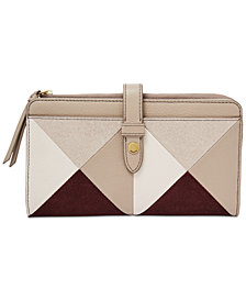 Fossil Fiona Patchwork Leather & Suede Tab Wallet