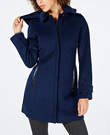 MICHAEL Michael Kors Faux-Leather-Trim Hooded Coat