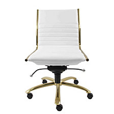 Dirk Leather Low Back Office Chair, Quick Ship