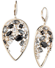 Carolee Gold-Tone Crystal & Stone Cluster Drop Earrings