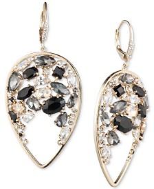 Carolee Gold-Tone Crystal & Stone Cluster Drop Earrings