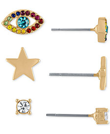 RACHEL Rachel Roy Gold-Tone 3-Pc. Set Crystal Evil Eye Stud Earrings