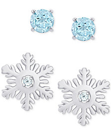 2-Pc. Set Blue Topaz Snow Flake & Round Stud Earrings (5/8 ct. t.w.) in Sterling Silver
