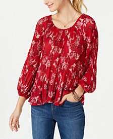 Style & Co Petite Pleated Peasant Top, Created for Macy's
