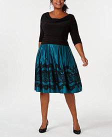 SL Fashions Plus Size Glitter-Flocked Ruched Dress
