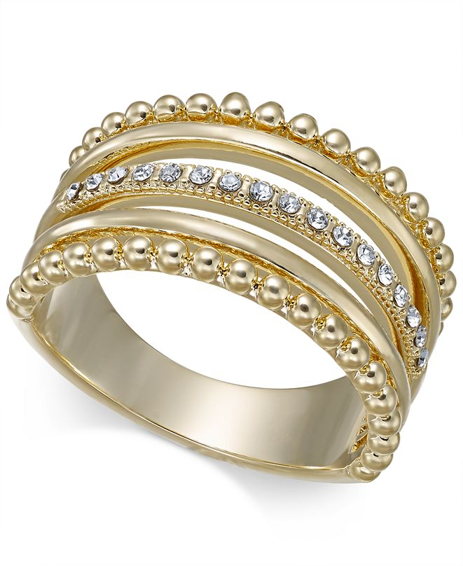 INC International Concepts INC Gold-Tone Crystal Stack Ring, Created for Macy's