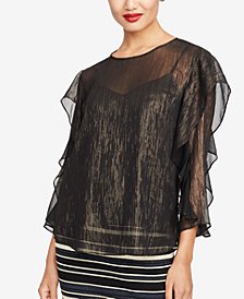 RACHEL Rachel Roy Metallic Flutter-Sleeve Top, Created for Macy's