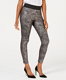 I.N.C. Pebble-Texture Faux-Leather Smoothing Leggings, Created for Macy's