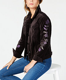 Style & Co Cotton Velvet Embroidered Jacket, Created for Macy's
