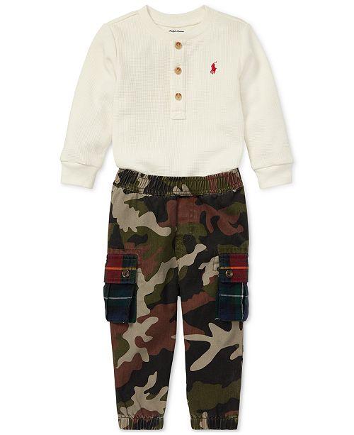 affec6ebe6b6 Polo Ralph Lauren Baby Boys Waffle Henley Shirt   Cargo Pants Set ...