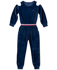 Tommy Hilfiger Big Girls Cold-Shoulder Stretch Velour Jumpsuit
