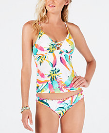 Hula Honey Palm Pop Printed Strappy Molded Cup Tankini Top & Palm Pop Printed Cheeky Hipster Bikini Bottoms, Created for Macy's