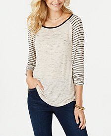 Style & Co Striped Baseball T-Shirt, Created for Macy's