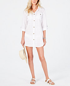 Dotti On Island Time Cotton Dress Shirt Cover-Up