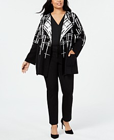Plus Size Double-Faced Sweater Jacket, Created for Macy's