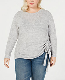 I.N.C. Plus Size Tunnel-Tie Sweater, Created for Macy's