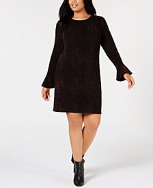MICHAEL Michael Kors Plus Size Glitter Flare-Sleeve Bodycon Dress