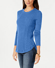 Charter Club Shaped Cable Sweater, Created for Macy's