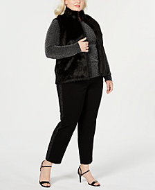 MICHAEL Michael Kors Plus Size Faux-Fur Vest, Metallic-Knit Top & Embellished Miranda Pants
