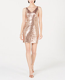 R & M Richards V-Neck Sequined Sheath Dress