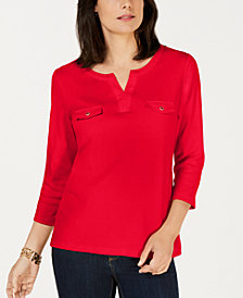Karen Scott Cotton Split-Neck Knit Top, Created for Macy's