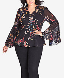 City Chic Trendy Plus Printed Bell-Sleeve Top