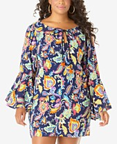 a56938a7188 Anne Cole Plus Size Paisley Bell-Sleeve Cover-Up