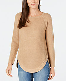 I.N.C. Waffle-Knit Side-Zip Tunic Sweater, Created for Macy's