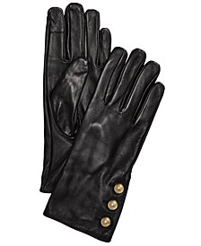 MICHAEL Michael Kors Three-Button Touchscreen Leather Gloves