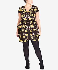 City Chic Trendy Plus Size Printed Zip-Front Tunic